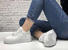 Зимние женские кроссовки Nike Air Force white с мехом. ТОП Реплика ААА класса., фото 3