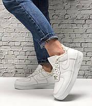 Зимние женские кроссовки Nike Air Force white с мехом. ТОП Реплика ААА класса., фото 2