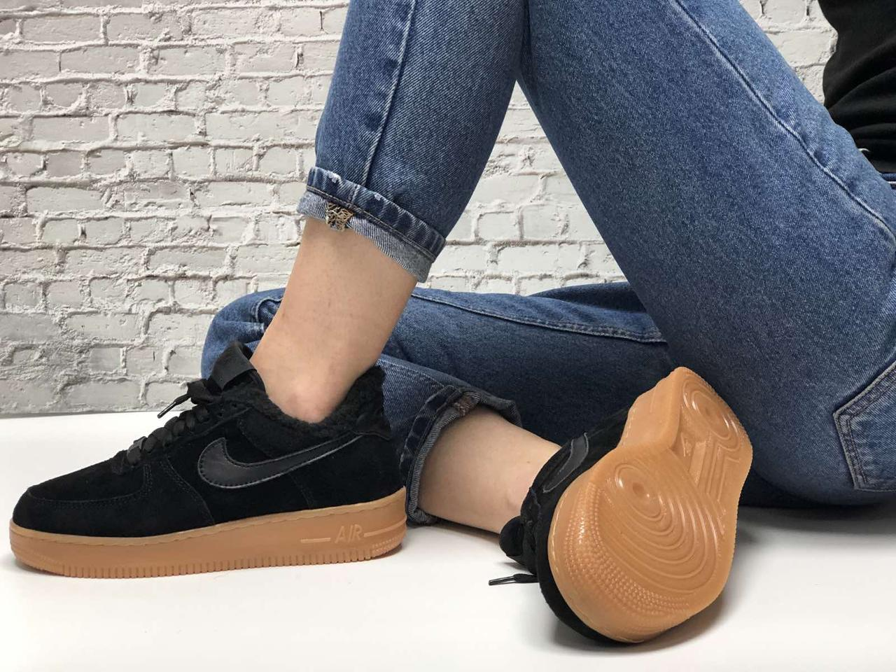 Зимние женские кроссовки Nike Air Force Black с мехом. ТОП Реплика ААА класса.
