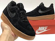 Зимние женские кроссовки Nike Air Force Black с мехом. ТОП Реплика ААА класса., фото 3