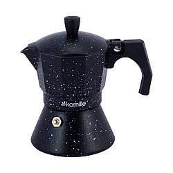 Кофеварка гейзерная Kamille на 3 чашки (150 мл) из алюминия для индукционной плиты ЧЕРНЫЙ МРАМОР