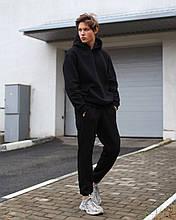 Теплый мужской спортивный костюм на флисе: худи и спортивные штаны. Черный