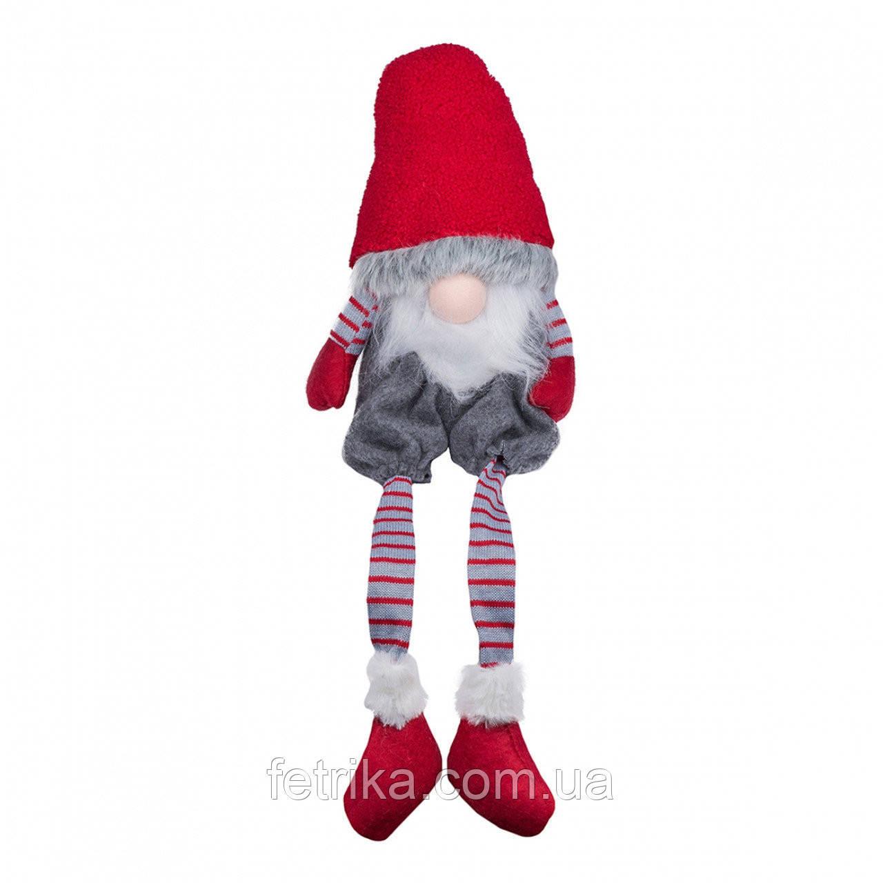 Декоративный новогодний гном, 19*12*73 см, красный