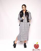 Женское длинное платье с жилеткой батал, трикотажное платье спортивного плана + жилетка большие размеры