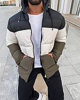 Чоловіча зимова куртка стьобана з капюшоном, фото 1