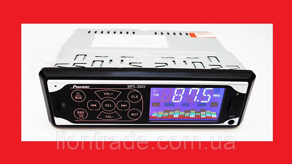 Автомагнитола Pioneer 3883 ISO - MP3 Player, FM, USB, SD, AUX сенсорная магнитола