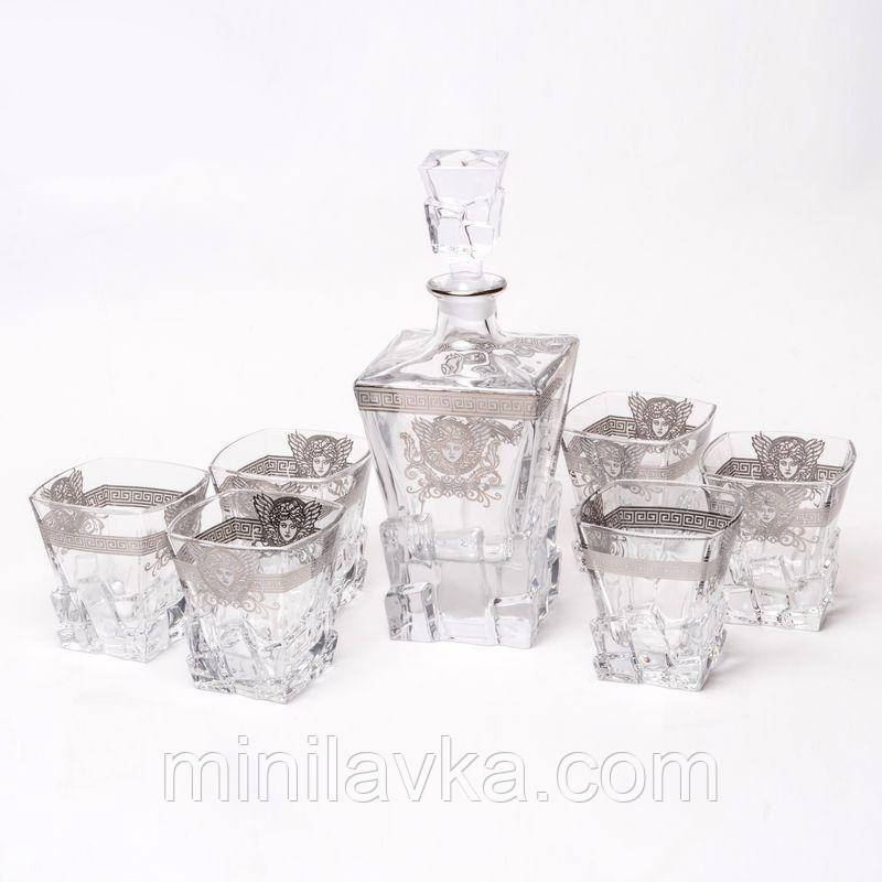 Набор для виски со стаканами Butterfly Preface 970002 (графин 0,63 л. и 6 стаканов 0,3 л) серебристый