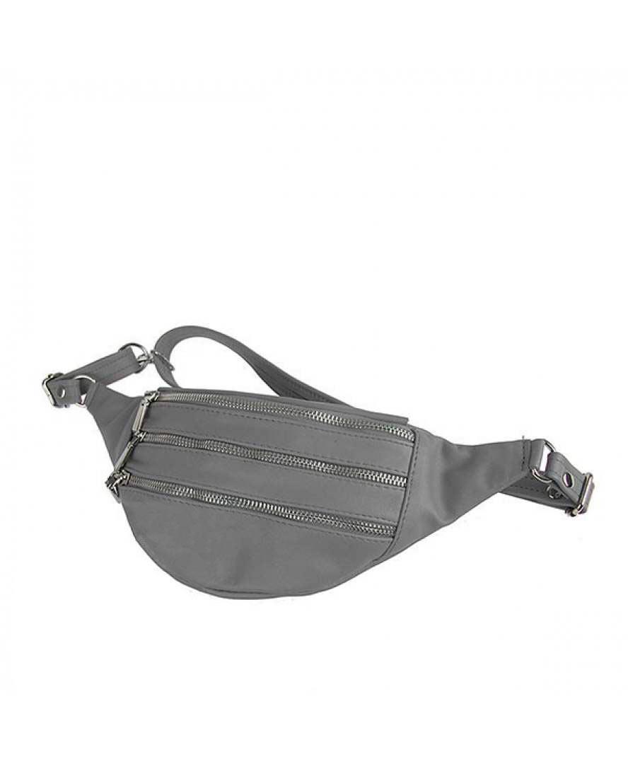 Женская кожаная сумка на пояс (бананка) Polscy SZ002 Черный