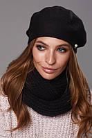 Зимовий жіночий комплект (бере+шарф) Кім
