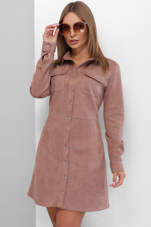 Модное платье из эко-замши на пуговицах с карманами на груди пыльная роза 50