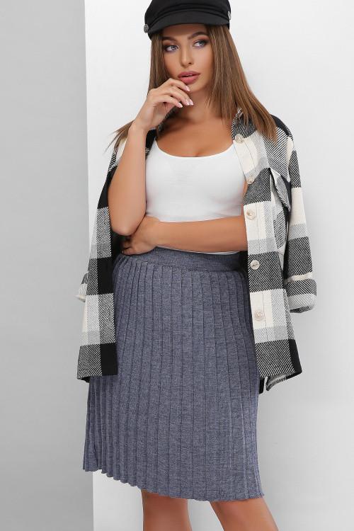 Плиссированная вязаная юбка с эластичным поясом светлый джинс 42-48