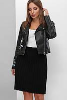 Плиссированная вязаная юбка с эластичным поясом черная 42-48