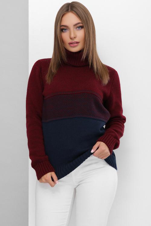Женский двухцветный свитер под горло марсала-темно-синий 44-50