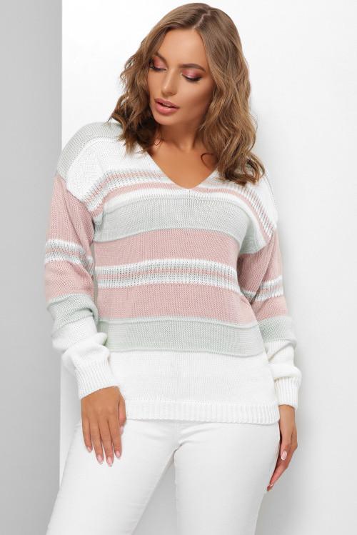 Женский стильный разноцветный джемпер мятный 44-50