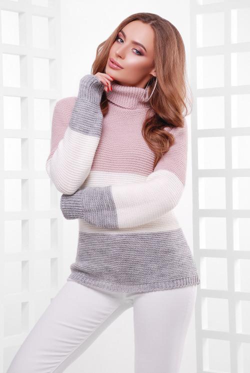 Женский трехцветный свитер под горло пудра-молоко-т.серый 44-52