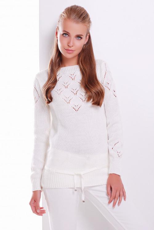 Однотонный женский свитер молоко 44-50