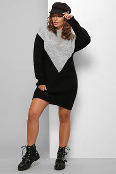 Женское вязаное платье темно-серый-черный 46-52