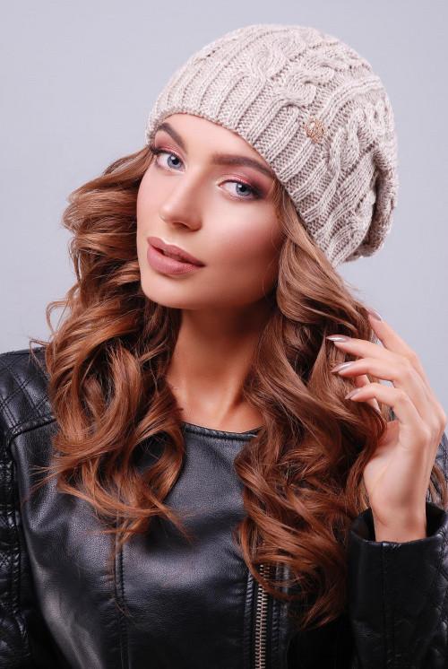 Женская модная шапка с текстурными узорами  капучино