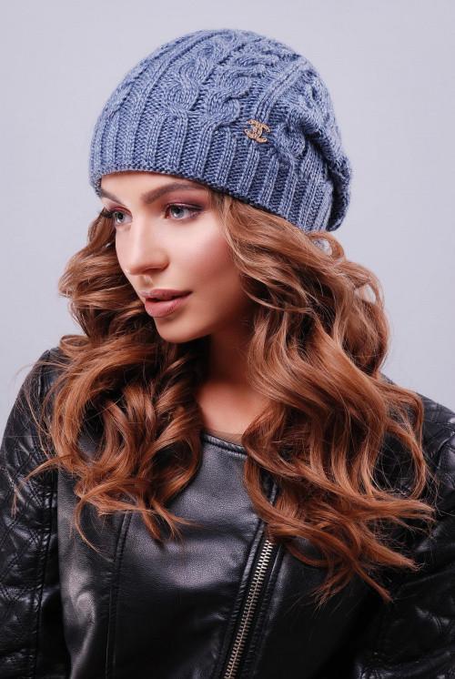 Женская модная шапка с текстурными узорами  светлый джинс