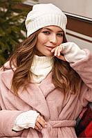 Зимовий жіночий комплект (трійка: Шапочка снуд-Баффі мітенки) Мерелін, фото 1