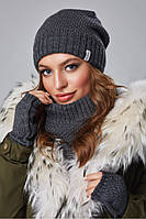 Зимовий жіночий комплект (трійка: Шапочка снуд-Баффі мітенки) Мерелін