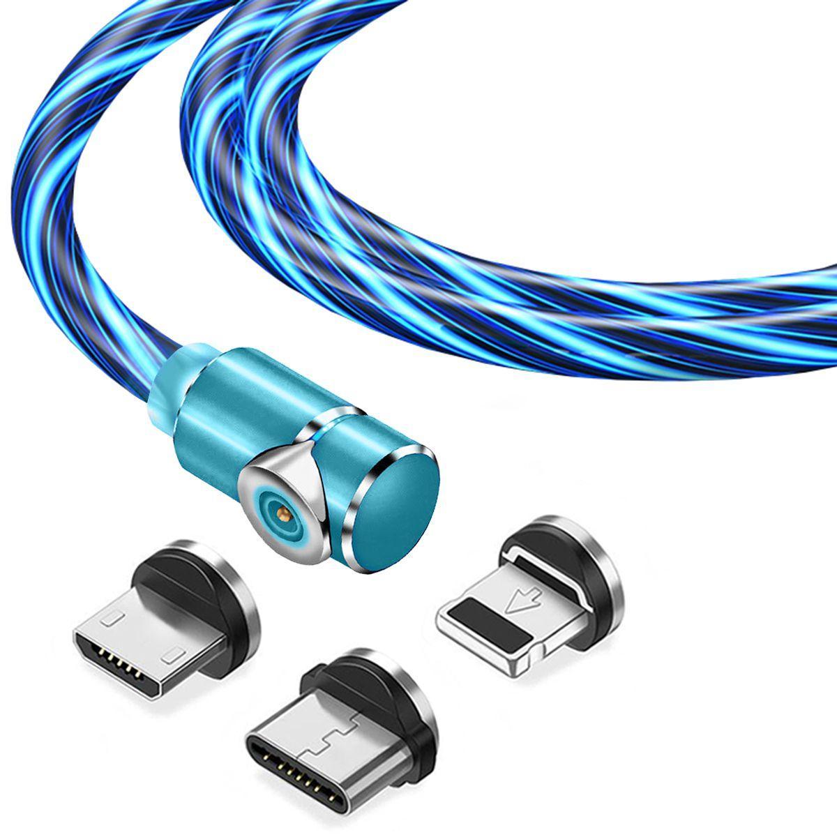 Магнітний кабель TOPK 3в1 (LZ) для заряджання (100 см) Blue