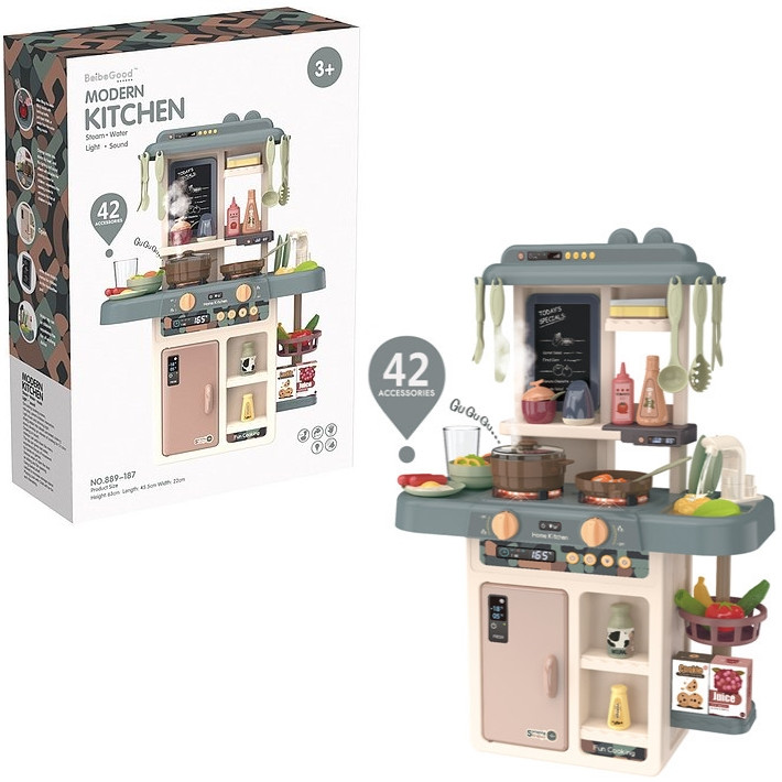 Детская игровая кухня Modern Kitchen 889-187 с водой, и духовкой, 42 предметов (63x45,5x22 см)