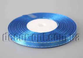 Лента атласная синяя с серебреным люрексом 0,6 см 36ярд 40