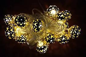 Новогодняя декоративная гирлянда светодиодная с металлическими шариками 4 м. Праздничное освещение для дома