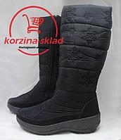 Женские зимние сапоги  высокие черные