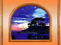 """3Д светящиеся обои """"Голубой закат серии Окна"""" 135/180 см."""