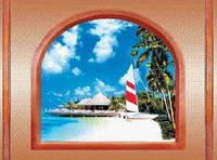 """3Д светящиеся обои """"Пляж из серии Окна"""" 135/180 см."""