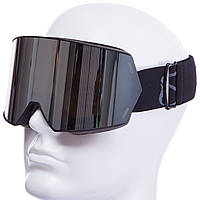 Сноубордическая маска магнитная черная SPOSUNE HX010 (Серебряные линзы)