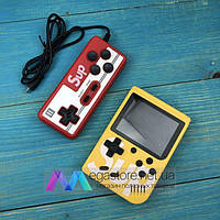Портативная игровая консоль ретро приставка с джойстиком Retro FC Sup Game Box 400 игр dendy денди 8бит желтая