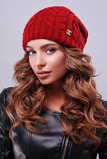 Бордовая Женская шапка с текстурными узорами