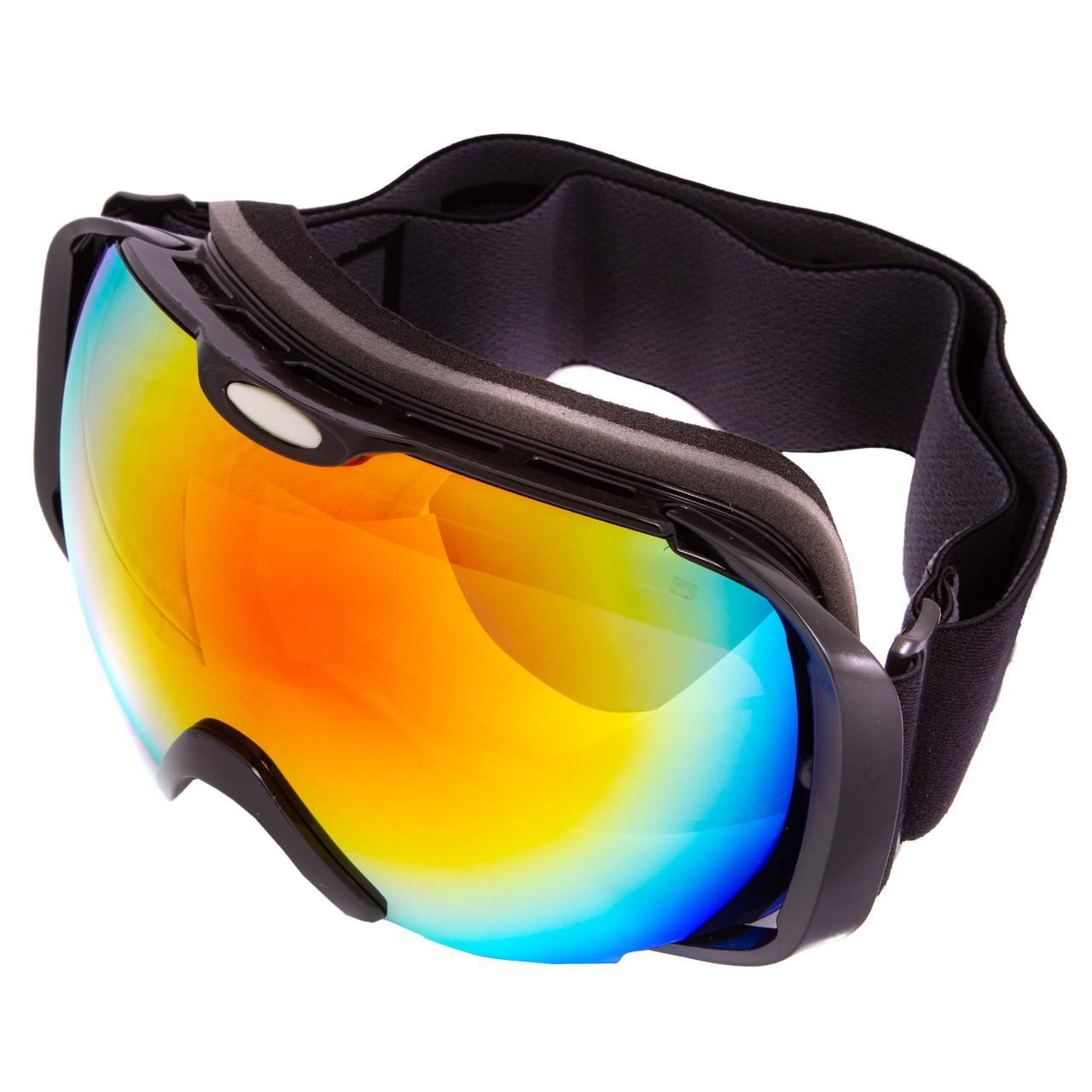 Лыжная маска черная SPOSUNE HX012 (салатовые зеркальные линзы)