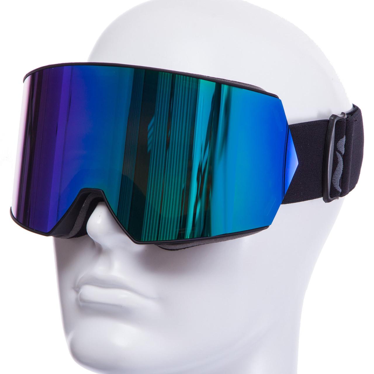 Горнолыжная маска черная SPOSUNE HX010 (салатовые линзы)