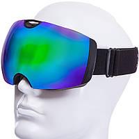 Горнолыжная маска черная SPOSUNE HX036 (салатовые зеркальные линзы)
