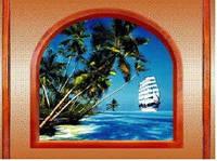 """3Д светящиеся обои """"Пляж-2 из серии Окна"""" 135/180 см."""
