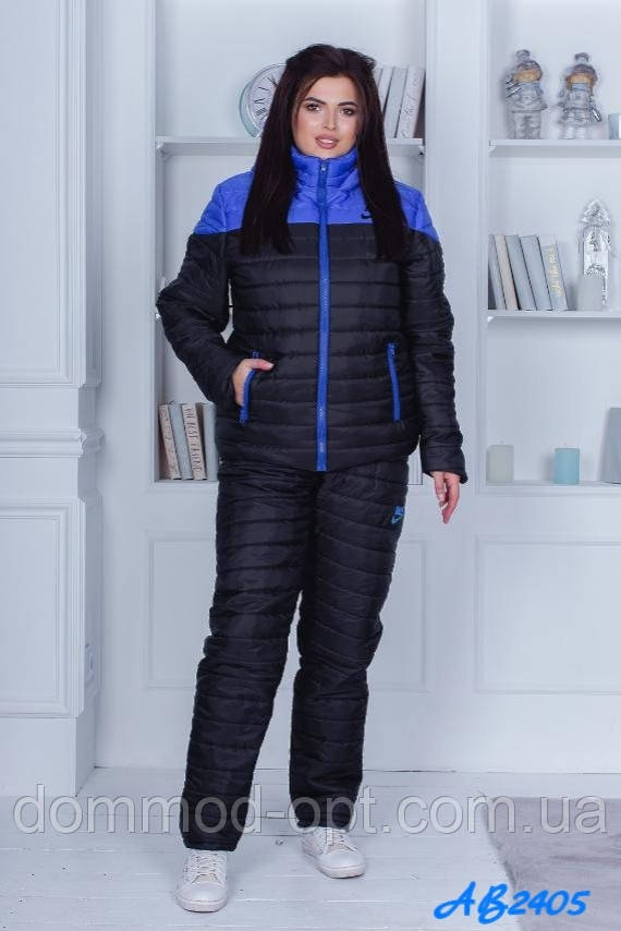 Женский зимний костюм №1015 (р.48-54) черный+элеткрик