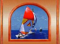 """3Д светящиеся обои """"Красная яхта из серии Окна"""" 135/180 см."""