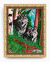 """Схема – заготовка для частичной вышивки бисером. """"Волки в лесу"""""""