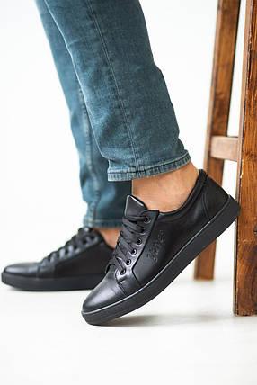Мужские кеды кожаные весна/осень черные Yuves 590 black edition, фото 2