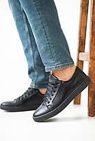 Мужские кеды кожаные весна/осень черные Yuves 590 black edition, фото 3