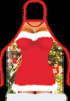 Прикольный фартук Снегурочки (красный)