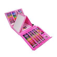 Большой набор для рисования в раскладном чемоданчике с мольбертом 208 предметов, розовый