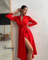 Стильное шелковое платье на запах женское длинное. Цвета: красный, электрик, молоко, кирпич. Размер: 42-46.