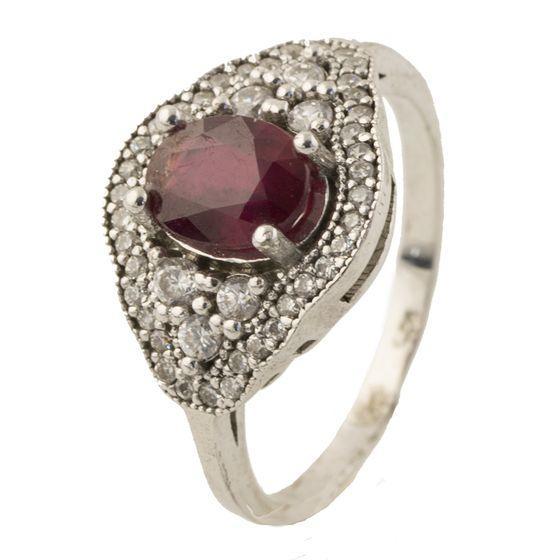 Серебряное кольцо pSilverAlex с натуральным рубином (0218304) 19 размер