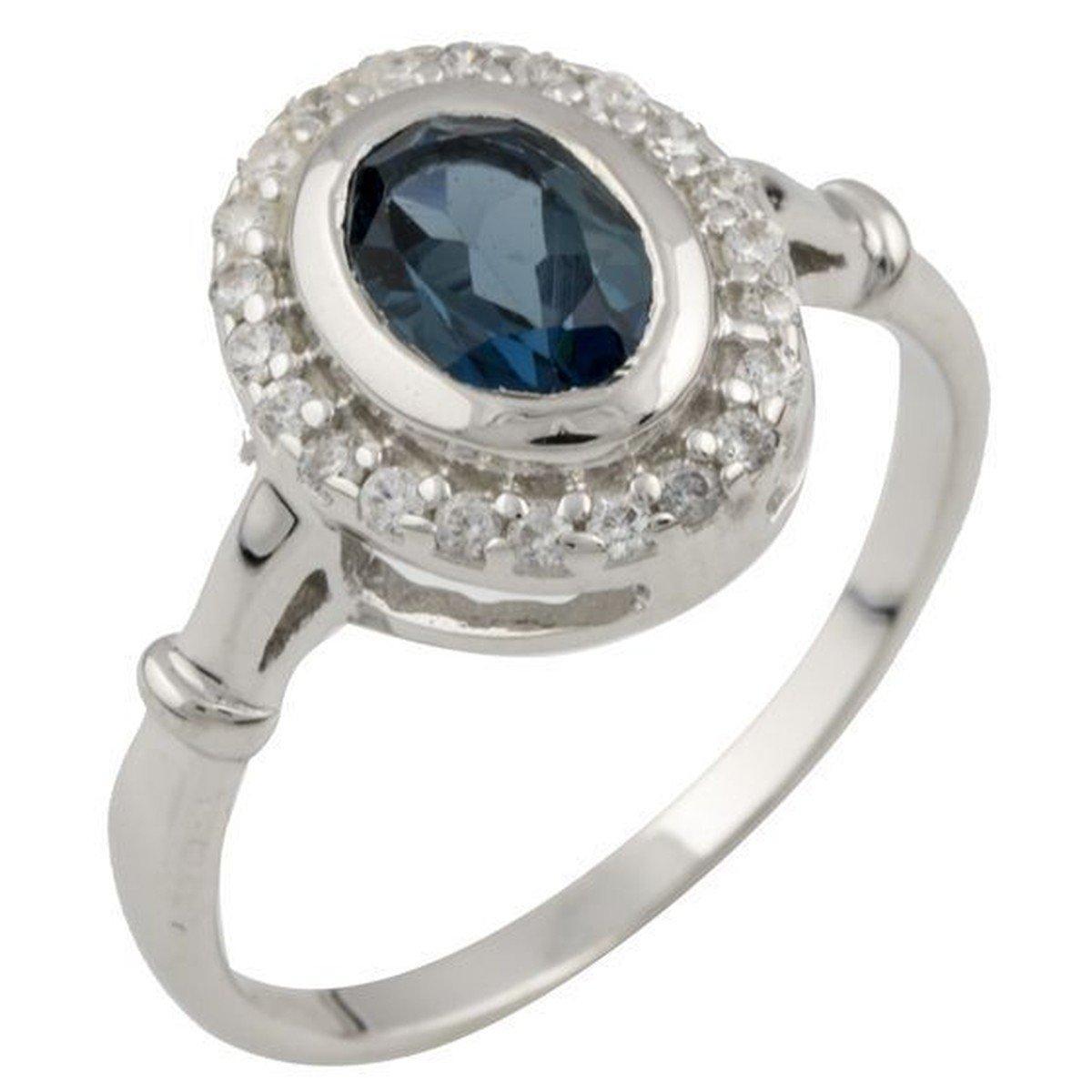 Серебряное кольцо pSilverAlex с натуральным топазом Лондон Блю (1073674) 18 размер