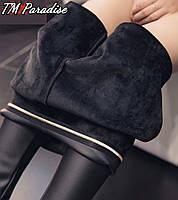 Лосины женские кожаные черные осенние зимние теплые эко кожа на меху 42 44 46 брюки утепленные популярные